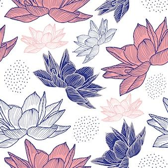 花の手描きスタイルでシームレスなパターンを描画