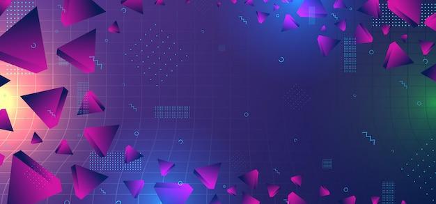 幾何学的なカラフルなグラデーションカラーと抽象的な背景