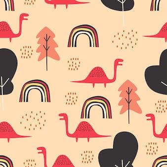 赤ちゃんと子供のためのかわいい恐竜のシームレスパターン