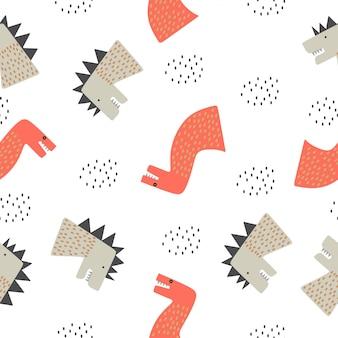赤ちゃんと子供の面白い図面の恐竜のシームレスパターン