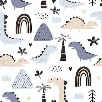 北欧スタイルとパステルカラーの恐竜のシームレスパターン