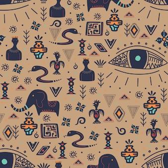 民族をモチーフにしたヴィンテージの部族のシームレスパターン