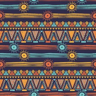 部族のストライプとボヘミアン民族シームレスパターン