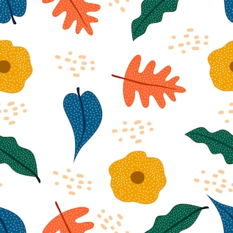 秋の植物図面のシームレスなパターンスカンジナビアスタイル