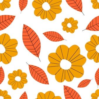 葉と花を持つ秋の植物のシームレスパターン