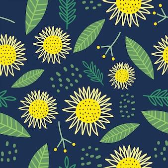 かわいい花のシームレスなパターンの手で描かれた花飾り