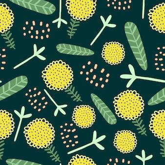 エキゾチックな花のシームレスパターン