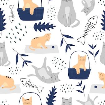 猫と植物スカンジナビアスタイルのかわいいシームレスパターン