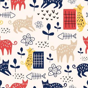 面白い猫のシームレスパターン