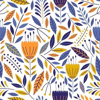 かわいい花のシームレスパターンの手で描かれた花の装飾品