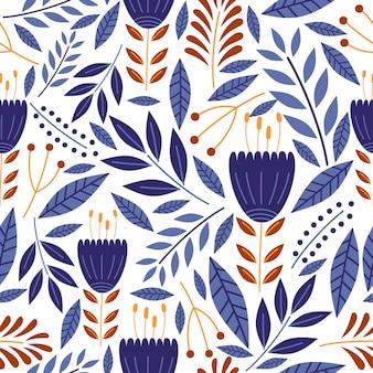 ヴィンテージ装飾図面と植物装飾のシームレスパターン