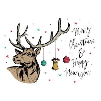 トナカイとクリスマスと新年のグリーティングカード