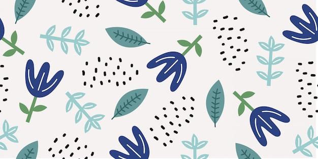 かわいい落書きの飾りと花の図面のシームレスパターン