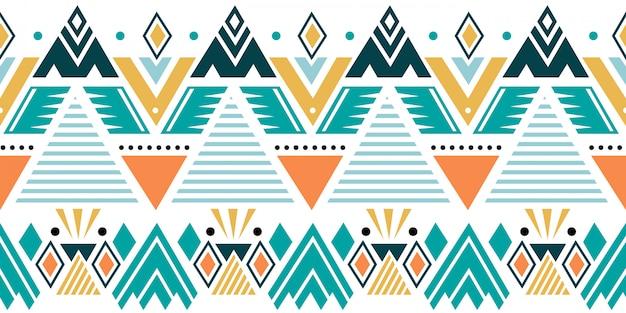部族の幾何学的なモチーフとカラフルな民族のシームレスパターン