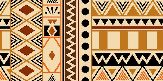 民族の抽象的なシンボルと暖かい手描き下ろし部族のシームレスパターン
