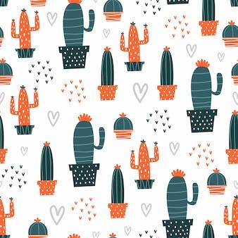 手描きのサボテン植物でかわいいシームレスパターン