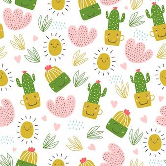 かわいいサボテンと多肉植物の花の手描きのシームレスパターン