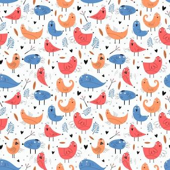 面白いキャラクターと鳥のシームレスパターン
