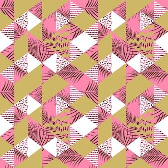 パステルカラーパタン付き多色幾何学三角形