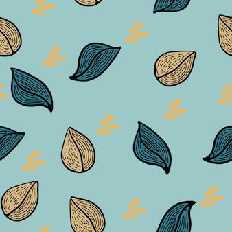 茶色と青の秋のパターンと子供のスタイルのパターン