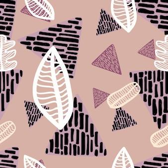 三角形の手で描かれたシームレスな秋の葉パターン
