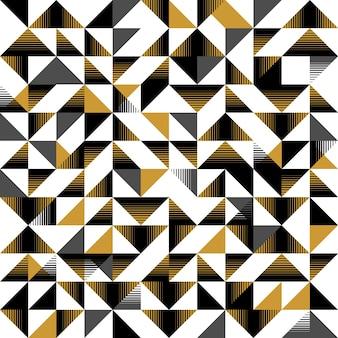 三角形のシームレスなパターン黄色と黒の抽象的な