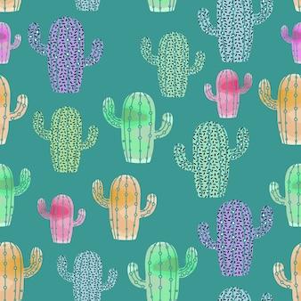 サボテンパターンの水彩スタイル