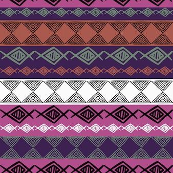 プロトンの紫色の描画と民族のシームレスパターン
