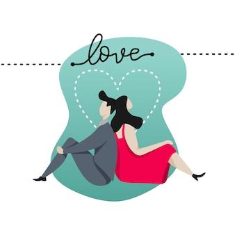 恋人はバレンタインの日カードのための愛のバナーに落ちる
