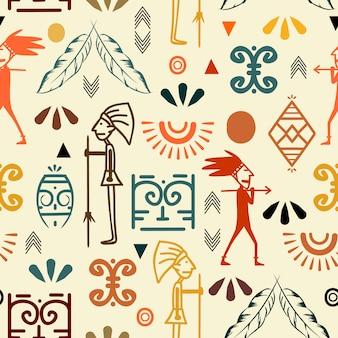 トレンディな古代のシンボルのシームレスパターン