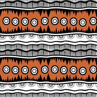 ストライプ手描きの部族のシームレスパターン