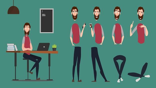 漫画のキャラクター仕事の日、フリーランスの仕事、感情表現、人生のジェスチャーの若者。モーションデザインの漫画キャラクターアニメーションセット