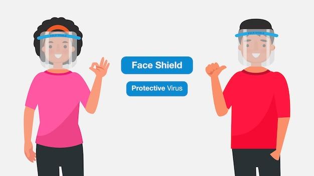 若い男性と女性は、医療用フェイスマスクまたはシールドを着用します。コロナウイルス検疫の概念。キャラクターイラスト。