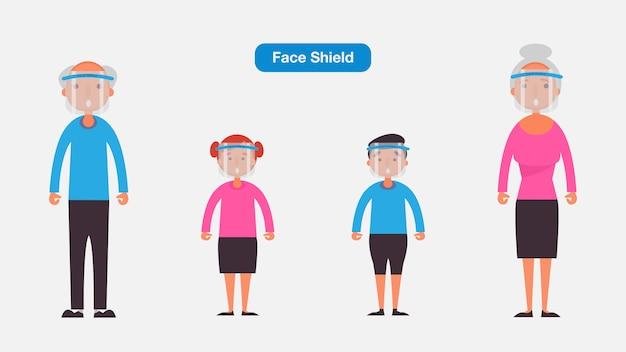 老人と子供は医療用フェイスマスクまたはシールドを着用します。コロナウイルス検疫の概念。キャラクターイラスト。