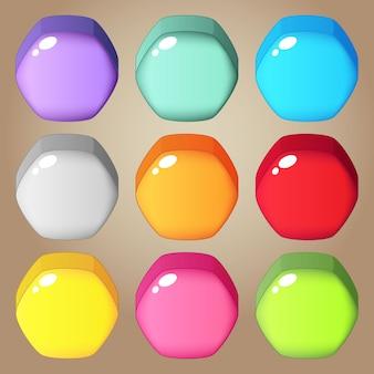 パズルゲームのためのかわいいカラフルなキャンディー六角形。