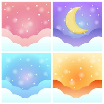 Милый прохладный фон неба рисованной с узором набора.