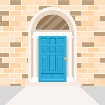 アイルランドのドアの形とパターンでレンガの壁を作成します。