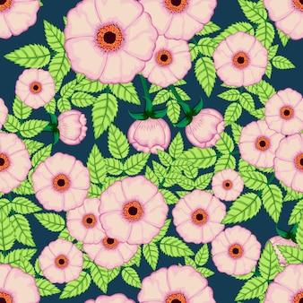 シームレスパターンピンクの花と葉の背景。