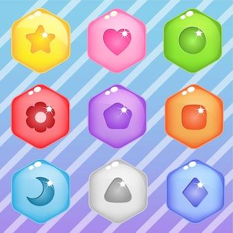 六角キャンディブロックパズルボタン光沢ゼリー