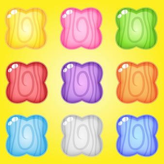 Значок и форма цветов линии дерева цвета для игр.