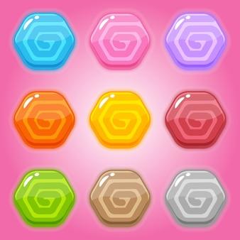 Набор сладких леденцов шестиугольной формы.