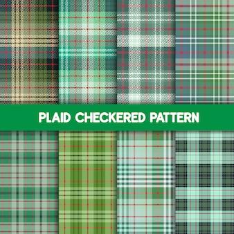 Тартан шаблон и бесшовные зеленые коллекции.