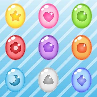 楕円形キャンディブロックパズルボタン光沢ゼリー
