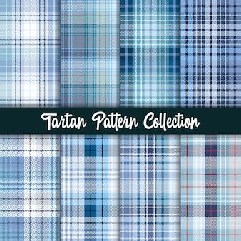 格子縞の市松模様のファブリックパターンとシームレスな青いコレクション。