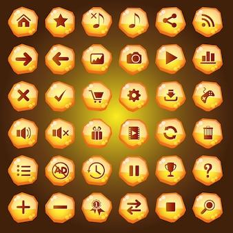 Значки кнопок графического интерфейса для игровых интерфейсов окрашены в желтый цвет.