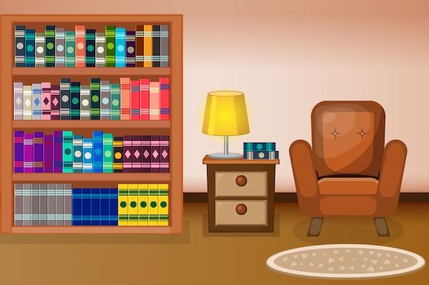 本と本棚のモダンなフラットデザインのライブラリインテリア。
