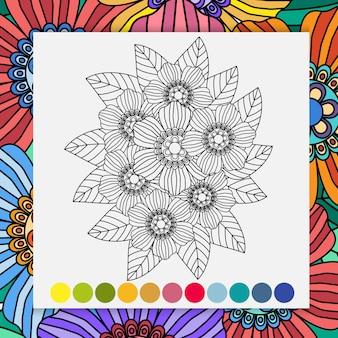 Рука рисовать цветок для взрослых, расслабляющий раскраски.