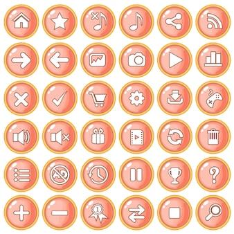 ゲームスタイルのプラスチックのボタンカラーオレンジピーチボーダーゴールド。