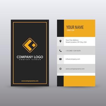 Современная вертикальная чистая визитная карточка с желтым цветом