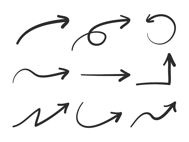 Изолированные стрелки вектора нарисованные рукой установленные